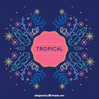 Tropischer sommerhintergrund mit anlagen in den monolinen