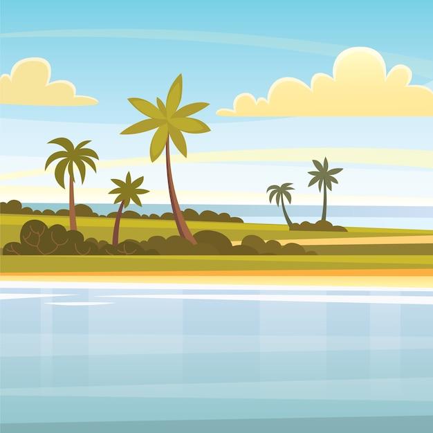 Tropischer sommerhintergrund mit palmen, himmel und sonnenuntergang. strandlandschaft.