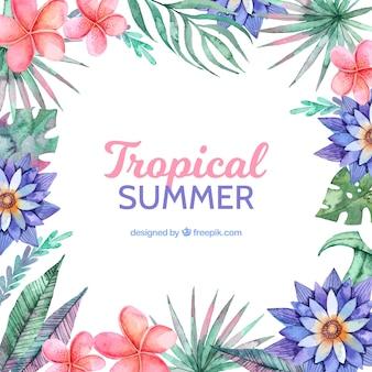 Tropischer sommerhintergrund mit verschiedenen flores