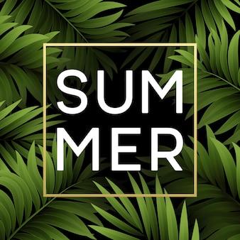 Tropischer sommerhintergrund von palmblättern. tropische palmblätter.
