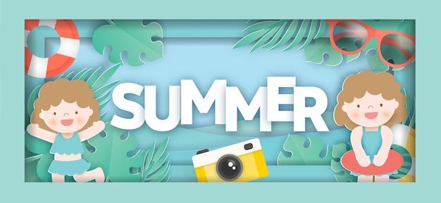 Tropischer sommerverkaufsbanner mit sommerelementen n papierschnittart