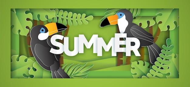 Tropischer sommerverkaufsfahne mit vogel im papierschnittstil