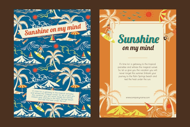 Tropischer sonnenschein reisevorlagenvektor für werbeplakate von marketingagenturen