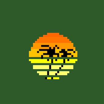 Tropischer sonnenuntergang im pixel-art-stil