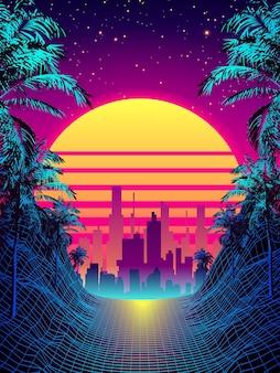Tropischer sonnenuntergang im retro-stil der 80er jahre mit palmen-silhouette und hintergrund mit farbverlauf. klassisches retro-design der 80er jahre. digitale landschaft cyber-oberfläche.