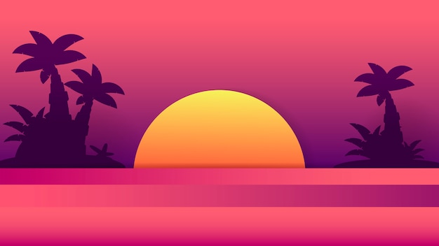 Tropischer sonnenuntergang sommer-illustration. sommerstrand design.tropical palme