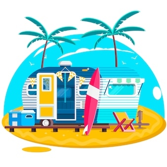Tropischer sonnenuntergang. wohnwagen. surfender anhänger mit brettern für das surfen auf einen strand. vektor-illustration