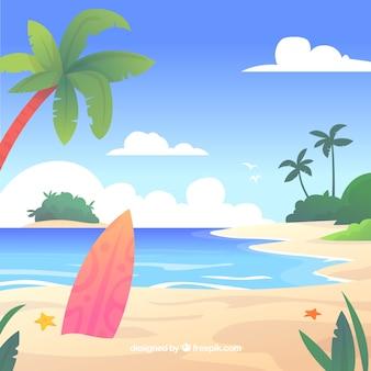 Tropischer strand des paradieses mit flachem design