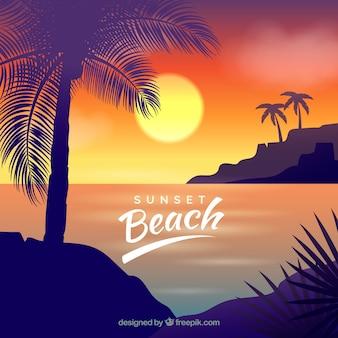 Tropischer strand des paradieses mit reizendem sonnenuntergang