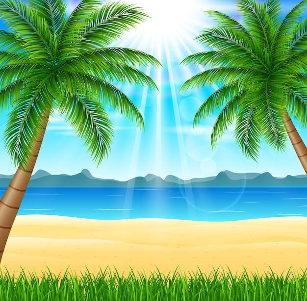Tropischer strand mit hellem sonnenschein und palmen