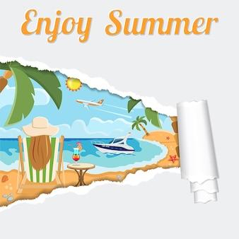 Tropischer strand mit mädchen, palmen und yacht durch zerrissenes loch im papier. ferien-, tourismus- und sommerkonzept mit flat icons strand, chaiselongue, cocktail, seestern und flugzeug. vektor-illustration