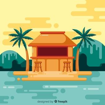 Tropischer strandhintergrund in der flachen art