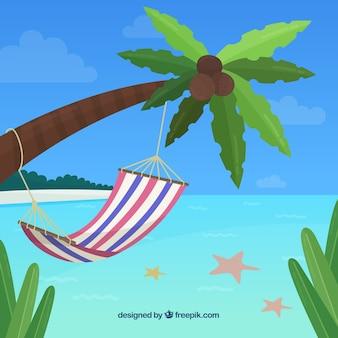 Tropischer strandhintergrund mit hängematte