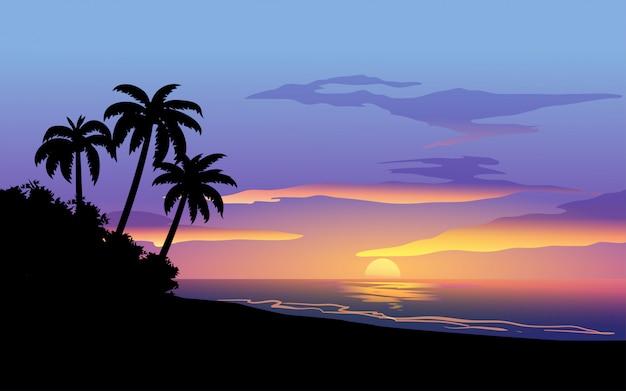 Tropischer strandsonnenuntergang mit baumschattenbild