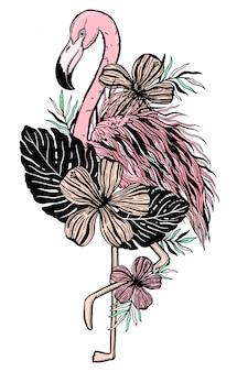 Tropischer tiervogel der flamingotätowierung. sommer natur zeichnen.