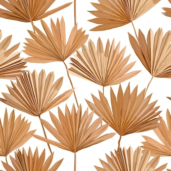 Tropischer vektor trockene palmblätter nahtloses muster, aquarell-design-boho-hintergrund für hochzeit, textildruck, exotische tropische tapetenstruktur, abdeckung, hintergrund, dekoration