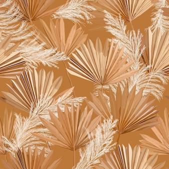 Tropischer vektor trockene palmblätter, nahtloses muster des pampasgrases, aquarelldesign-boho-hintergrund für hochzeit, textildruck, exotische tropische tapetenstruktur, abdeckung, hintergrund, dekoration