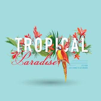 Tropischer vogel und blumen grafikdesign für t-shirt, mode, drucke in