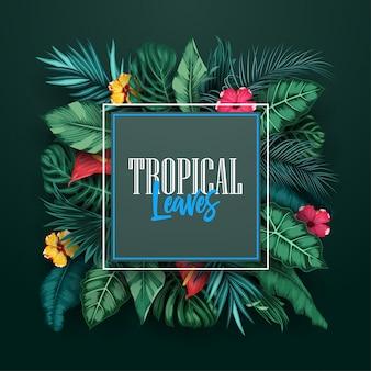 Tropischer wald mit quadratischem rahmen auf schwarzem hintergrund