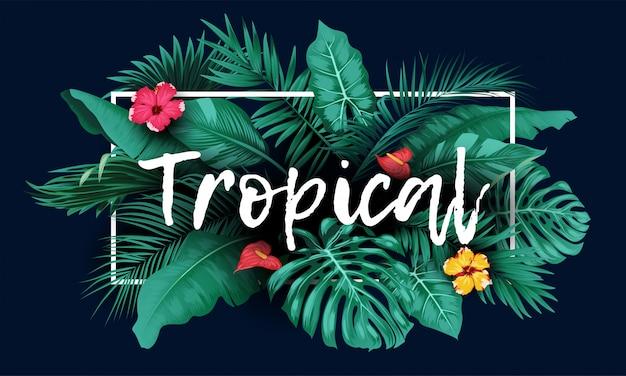 Tropischer wald mit rechteckrahmen auf blauem hintergrund