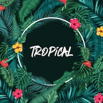 Tropischer wald mit rundem rahmen auf schwarzem hintergrund