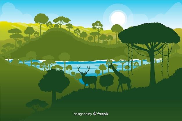 Tropischer waldhintergrund mit verschiedenen grünen schatten