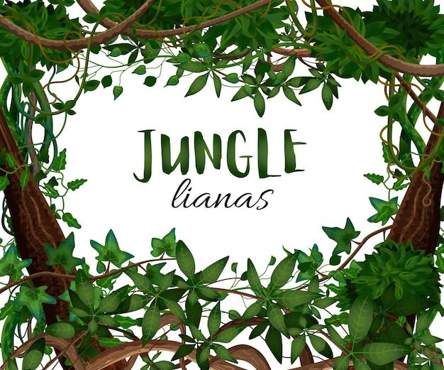 Tropischer windender lianen-realistischer rahmen mit hedera-efeu-kletterrebe exotische pflanzenblätter dekorativ