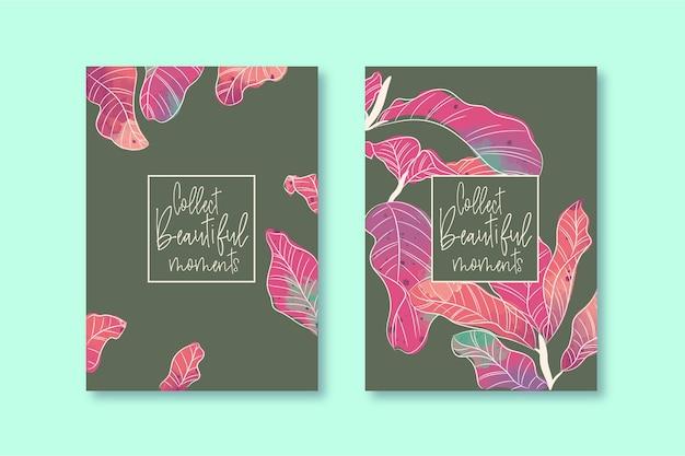 Tropisches aquarell-blumenplaner-cover-design