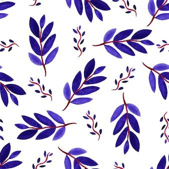 Tropisches aquarell verlässt nahtloses muster. vektorbeschaffenheit mit violetten niederlassungen der handfarbe.
