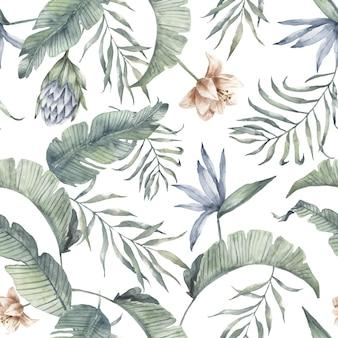 Tropisches aquarellmustergrünpalmenblatt exotisch. protea blume, bananenblatt
