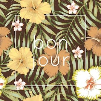 Tropisches blatt-hibiskusbraun des slogans bon jour