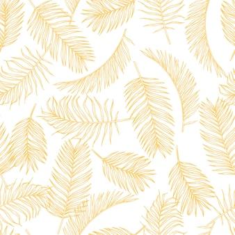 Tropisches blatt skizziert muster. hand gezeichnetes goldpalmenlaub exotisches regenwaldlaub nahtloses muster.