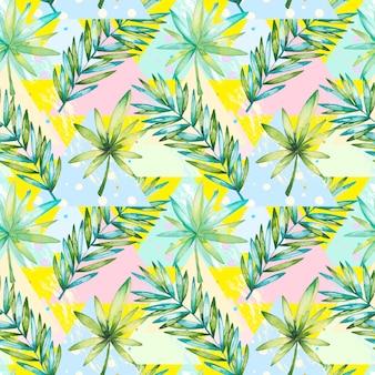 Tropisches blattmuster des aquarells