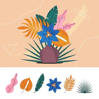 Tropisches blumen- und blattsetdesign