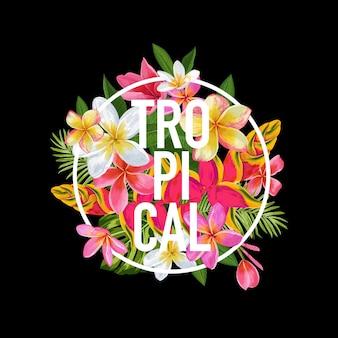 Tropisches blumenmuster für t-shirt, stoffdruck. exotische blumen poster, hintergrund, banner. strandurlaub tropische grafik. vektor-illustration