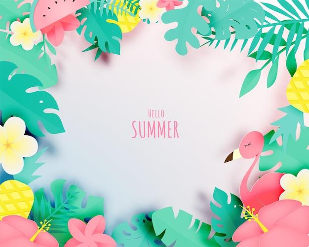 Tropisches blumenmuster mit flamingo im papierkunststil und in pastellfarbe
