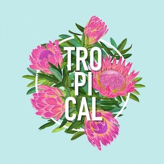 Tropisches blumensommer-design. protea blumen