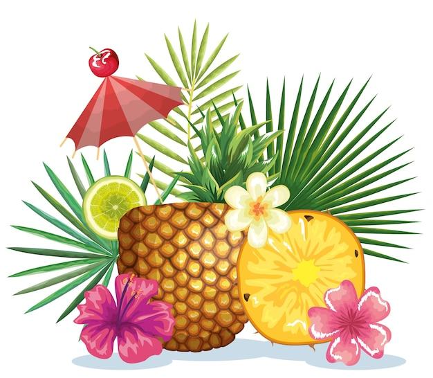 Tropisches cocktail in der ananasfrucht und im dekorationblumenvektor-illustrationsdesign