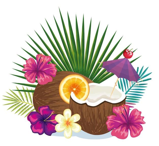 Tropisches cocktail in der kokosnussfrucht und in der dekoration blumenvektor-illustrationsdesign