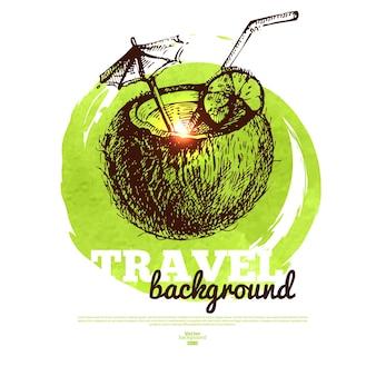 Tropisches design-banner reisen. handgezeichnete skizze und aquarellillustration