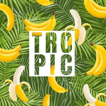 Tropisches design mit banane und palmblättern