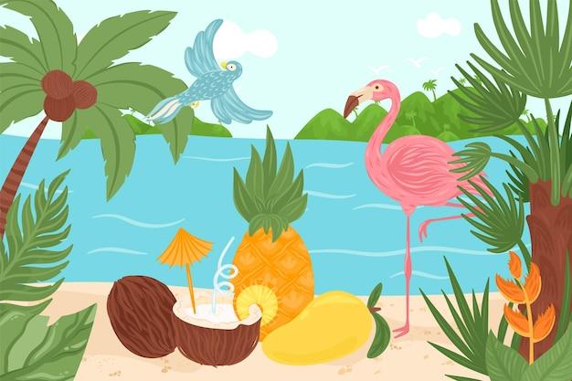 Tropisches exotisches elementdesign-vektorillustrations-sommerparadies auf hawaii-vogelflamingo am ozean ...