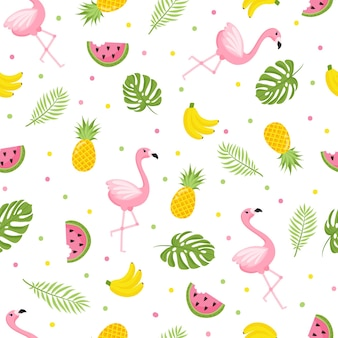 Tropisches flamingomuster nahtloser dekorativer hintergrund mit flamingo und tropischen früchten