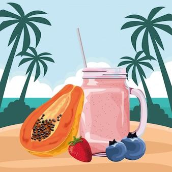 Tropisches frucht- und smoothiegetränk