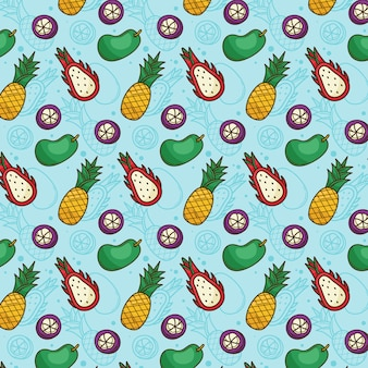 Tropisches fruchtmuster ananas, mango, drachenfrucht, mangostan