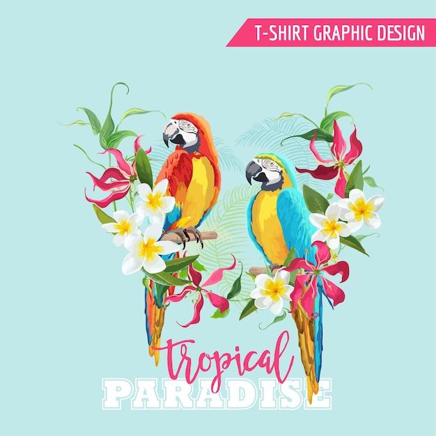 Tropisches grafikdesign. papageienvogel und tropische blumen