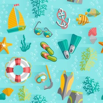 Tropisches inselandenkenverpackungs-nahtloses muster mit schwimmenanzug und tauchensschnorchel