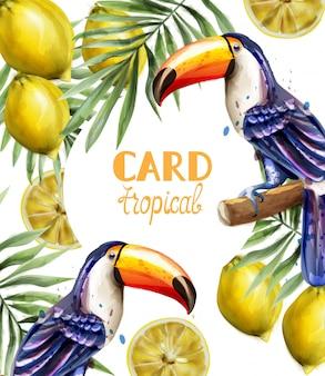 Tropisches kartenaquarell des tukans und der zitrone
