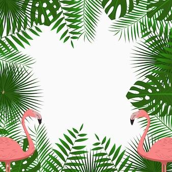 Tropisches kartenplakat oder bannervorlage mit dschungelpalmenblättern und rosa flamingovögeln