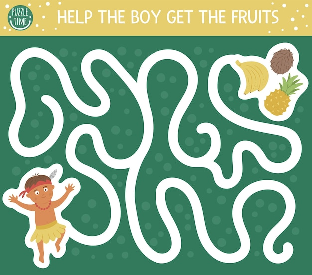 Tropisches labyrinth für kinder. exotische aktivität im vorschulalter. lustiges dschungelpuzzle. hilf dem jungen, an die früchte zu kommen.